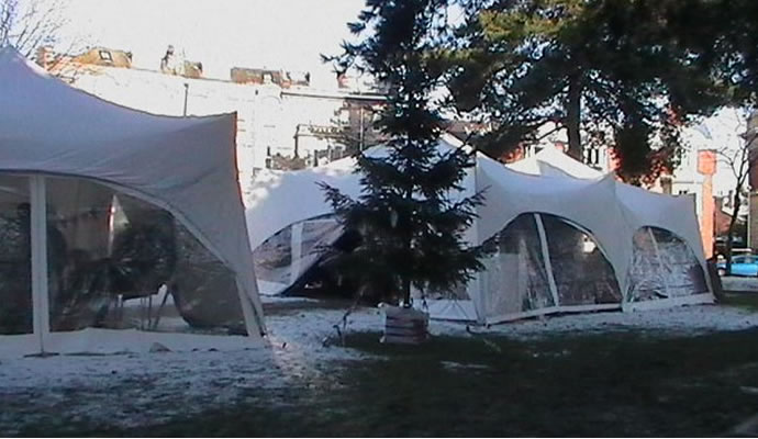 Marquees with fake snow