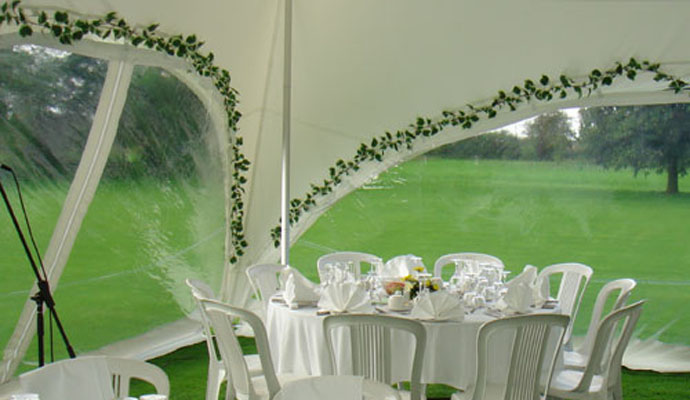 Ivy garlands inside marquee