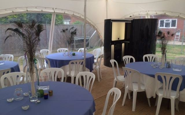 Inside wedding marquee with table