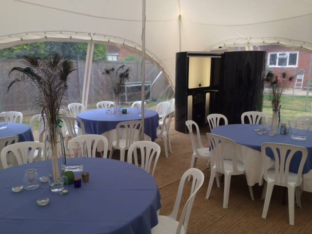 Inside marquee with table