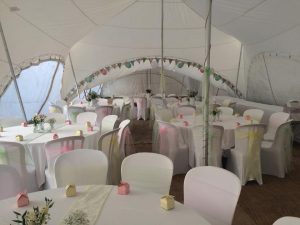 inside of a decorated marquee